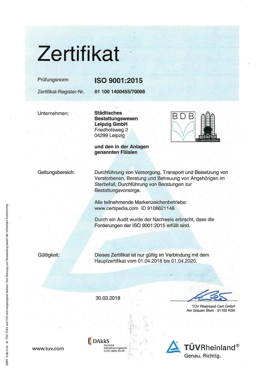 Städtisches Bestattungswesen Leipzig - Zertifikat ISO 9001:2015